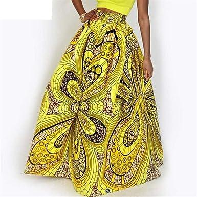 Haucalarm Falda de playa elástica con estampado floral, cintura ...