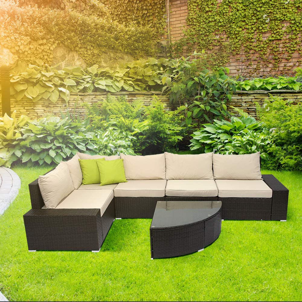 COACBEE Patio Rattan Furniture Set 6 Pieces Outdoor Sectional Rattan Wicker Sofa Sets with Cushions and Coffee Table Brown