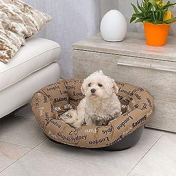 Ferplast 70226999 plástico Cama sofá 6, para Perro y Gato, con Funda extraíble, algodón Acolchado, Superficie Aprox.: 55 x 34 cm, Colores Surtidos