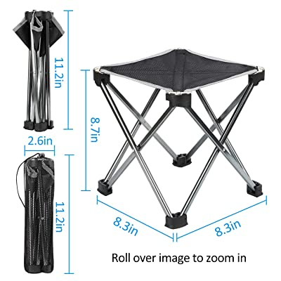 DAKI Kids Camping Stool, Outdoor Folding Stool for Camping, Fishing, Hiking, Fishing, Travel, Beach, Picnic (Black) : Sports & Outdoors
