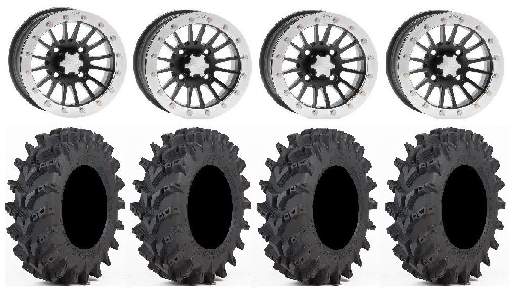 Bundle - 9 Items: ITP SD Dual Beadlock 14'' Wheels 30'' Outback Max Tires [4x137 Bolt Pattern 12mmx1.25 Lug Kit]