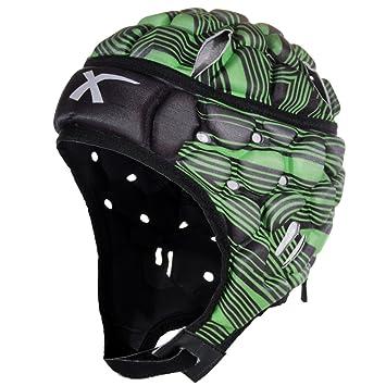 X HOJAS Wild Thing Casco De Rugby Scrum Gorra Cabeza Protección - Verde, Extra Chica