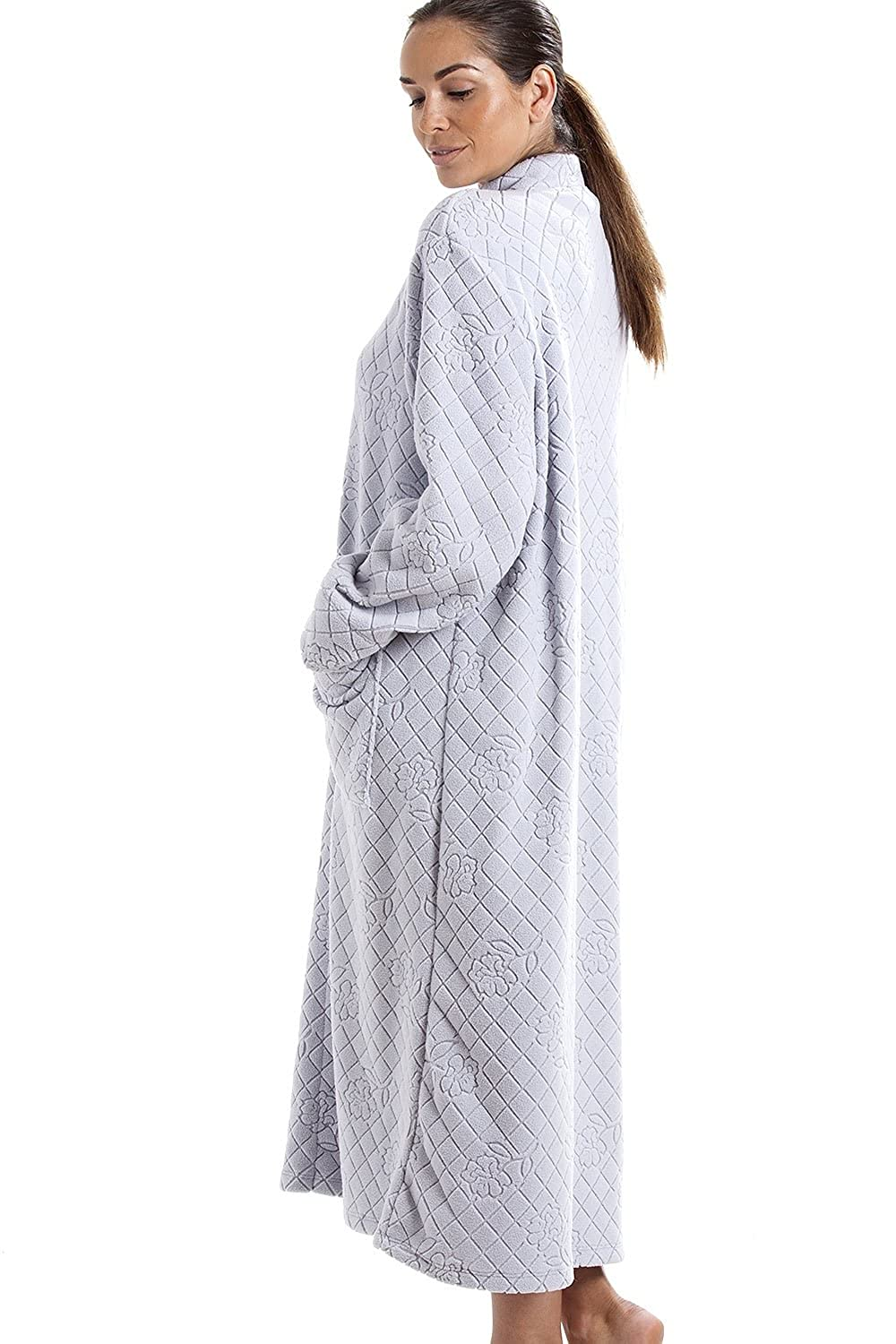 Camille Light Gray Soft Fleece Floral Full Length Button Up Housecoat at Amazon Womens Clothing store: