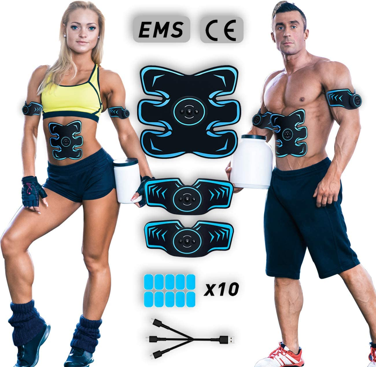 MATEHOM Electrostimulateur Musculaire,Ceinture Abdominale Electrostimulation,Stimulateur Musculaire Femme Homme Entra/înement Abdominal pour Abdomen//Bras//Jambes