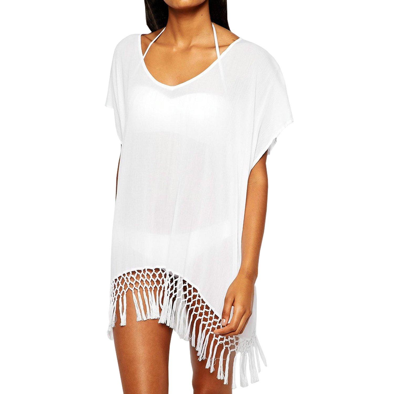 SUNNOW® Damenmode Sommerkleid Strandkleid Bademode Häkeln Bikini Cover Up mit Ärmel Tunika Shirt Oberteile