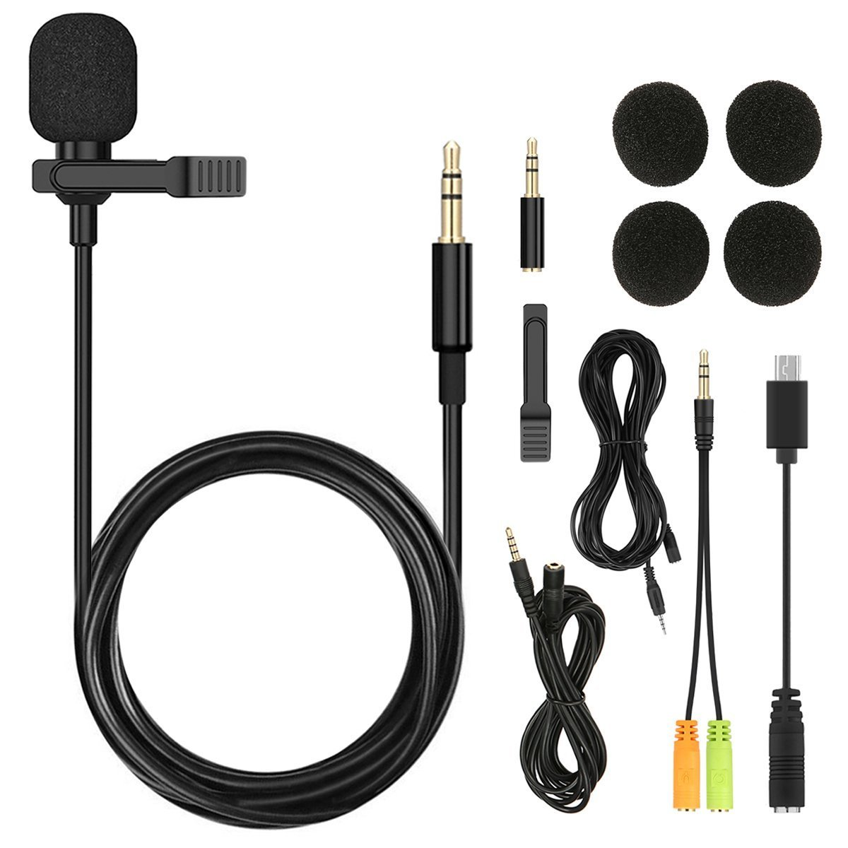 Professional Lavalier Lapel Microphone NASUM 3.5MM Clip-on Omnidirectional Condenser Microphone for iPhone,Android,PC,Laptop,Youtube,Interview,Video Recording,Studio