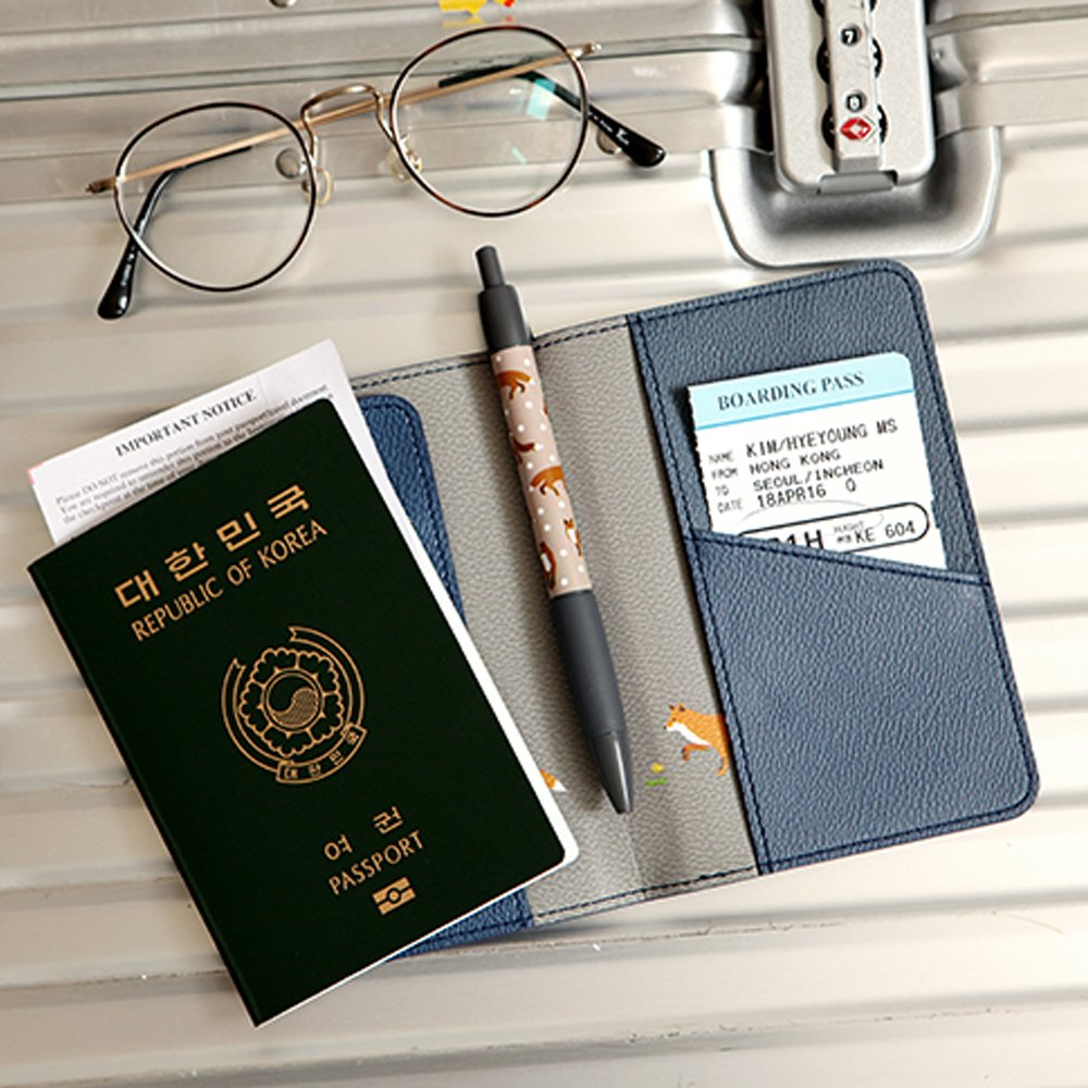 Passport Holder Travel Wallet ID Case PU Leather Passport Cover Note Fox