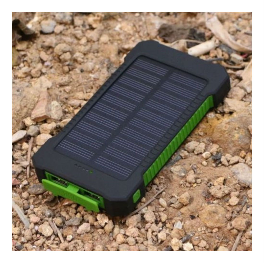 Black & Green Waterproof 500000mAh Dual USB Portable Solar Charger Solar Power Bank For Phone