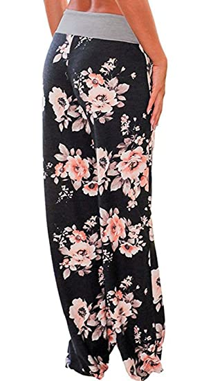 702a0ef76 AMiERY Women's Comfy Casual Pajama Pants Floral Print Drawstring Palazzo  Lounge Pants Wide Leg at Amazon Women's Clothing store: