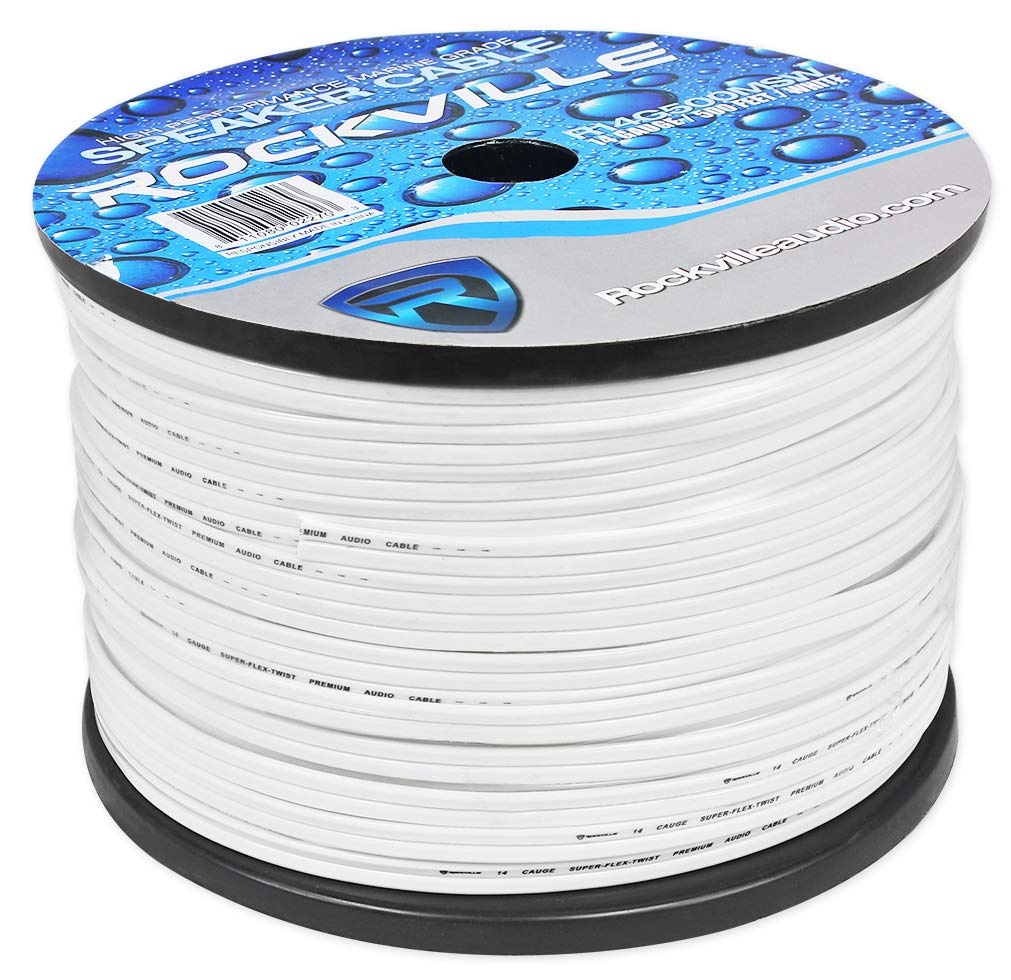Rockville R14G500MSW 500 Foot Spool Marine Waterproof 14 AWG Speaker Wire White