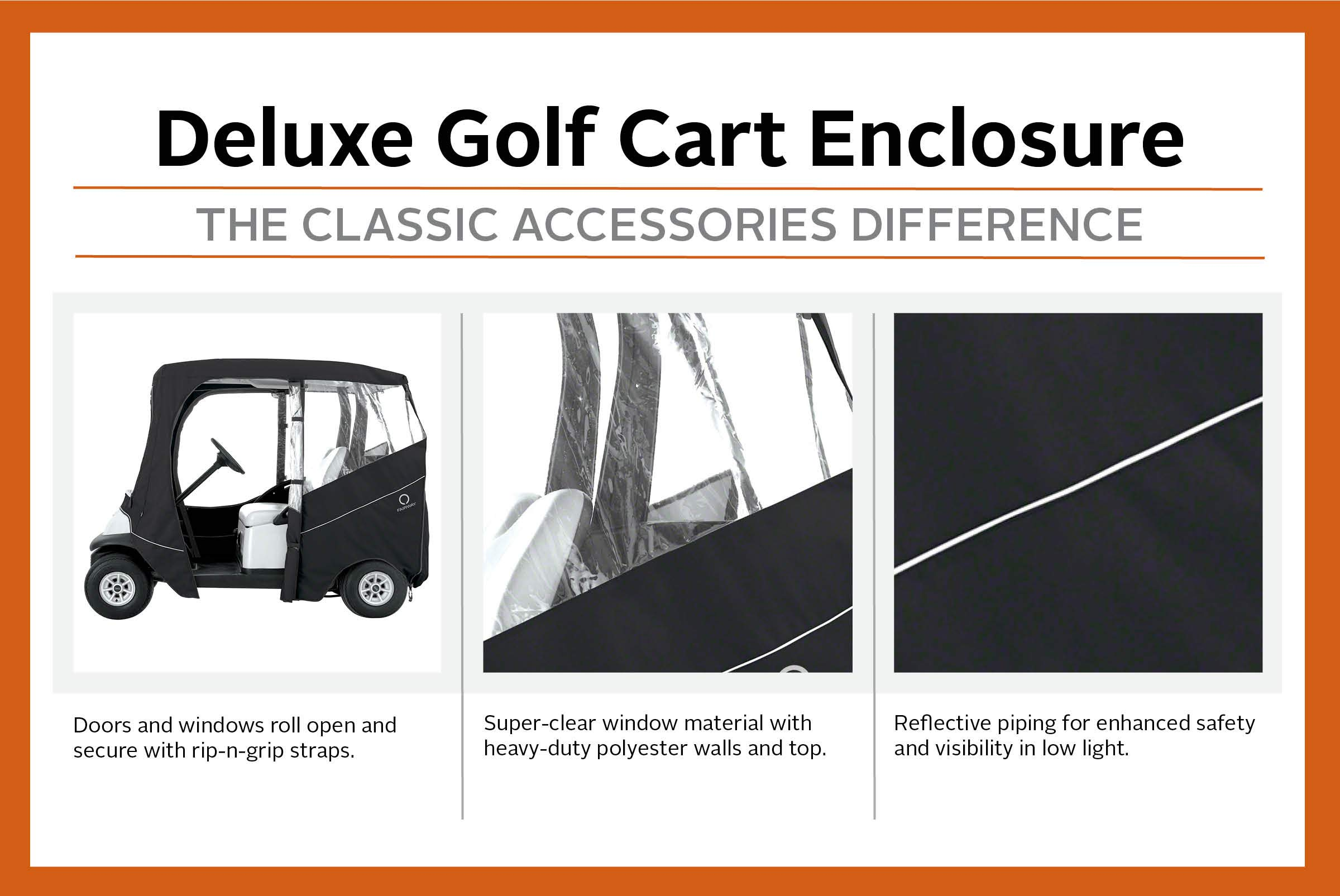 Classic Accessories Fairway Golf Cart Deluxe Enclosure, Black, Short Roof by Classic Accessories (Image #4)