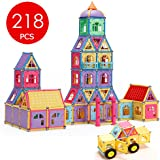 Magnetic Building Blocks,Banne 218 PCS Magnetic Blocks Tiles Educational Toy Set with Instruction Booklet and Storage Box for Kids 6 Year Old and Up