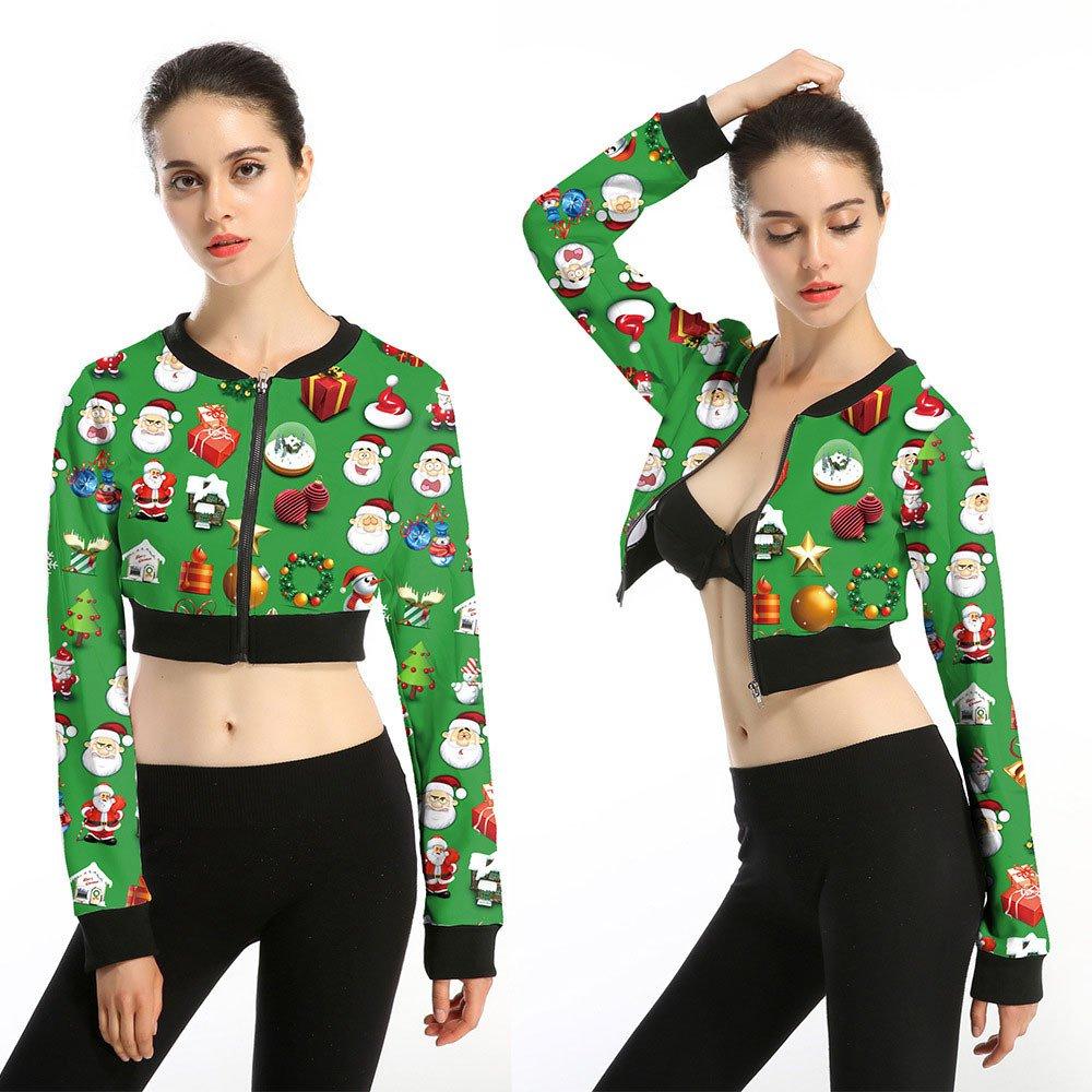 Women Christmas Mini Coat JKRED Women Christmas Short Jacket Autumn Winter Street Jacket Casual Mini Coat