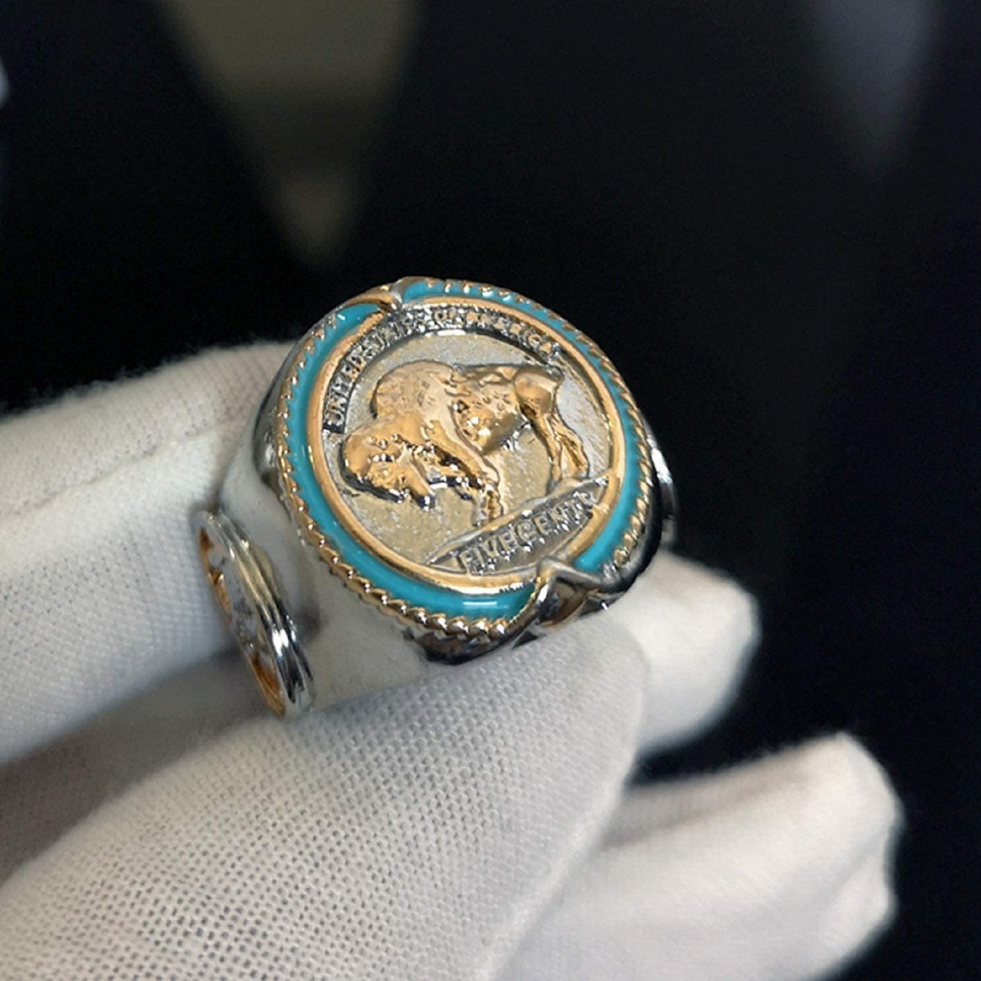 Buffalo Nickel Rings for Men Honoring The American West Alloy Coin Ring Indian Chief Ring Animal Jewelry Gift for Men Boys Husband Viking Bull Ring Amulet Ring Retro Buffalo Totem Rings