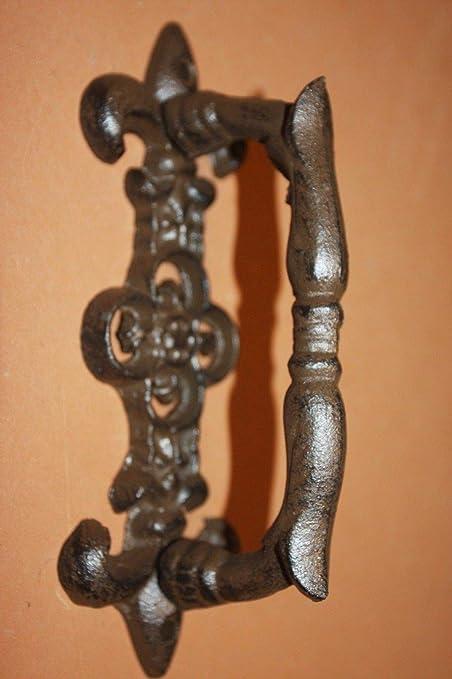 Large Fleur De Lis Door Handle Pull Heavy Cast Iron, HW 26