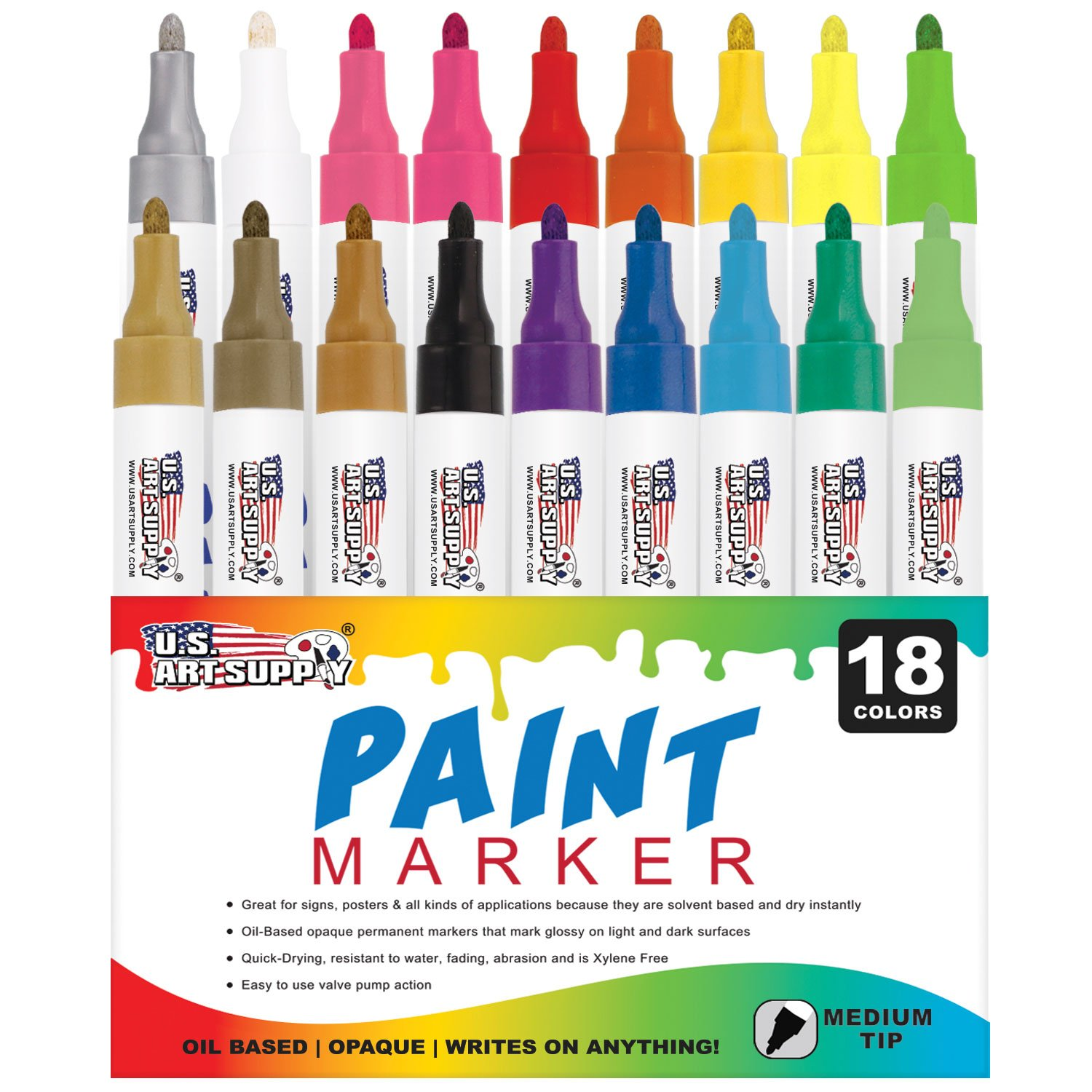 U.S. Art Supply 18 Color Set of Medium Point Tip Oil Based Paint Pen Markers - Permanent Ink that Works on Most Surfaces Glass, Wood, Metal, Rubber, Rocks, Stone, Arts, Crafts & Tools US Art Supply PP18-MEDIUM