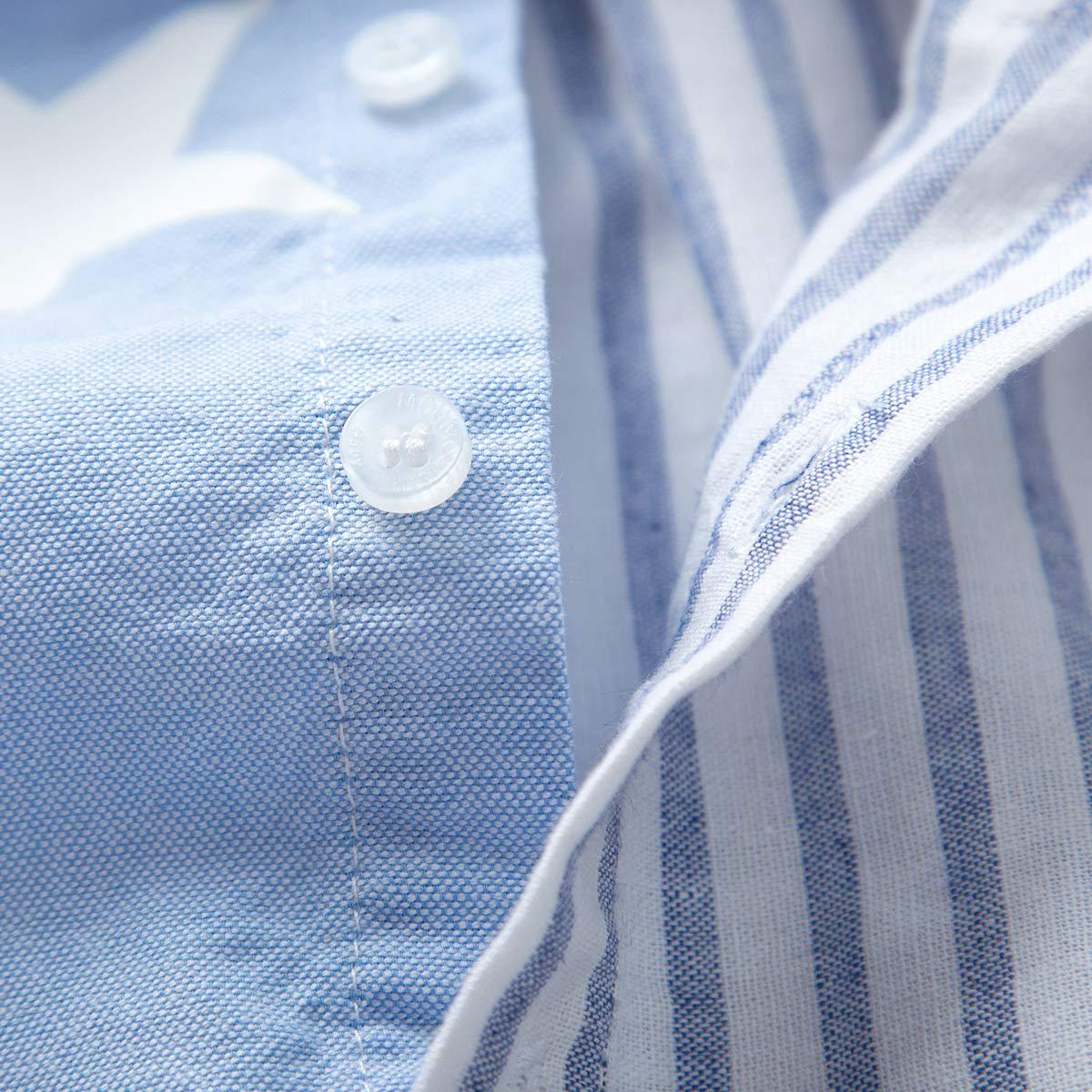 XINXINHAIHE Kid Boy Formal Outfit 3pcs Stripe Star Print Splice Shirt+Denim Pants+Bowtie