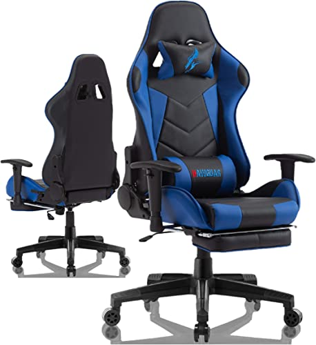 Gaming Chair with Footrest Office Computer Racing Game Chair for Adult Reclining Adjustable Swivel Leather Computer Chair High Back Desk Chair Headrest and Lumbar Support Cushion Black Blue with Footrest