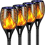TomCare Solar Lights 2nd Version Flickering Flame Solar Torches Lights Waterproof Outdoor Lighting Solar Powered Pathway Ligh