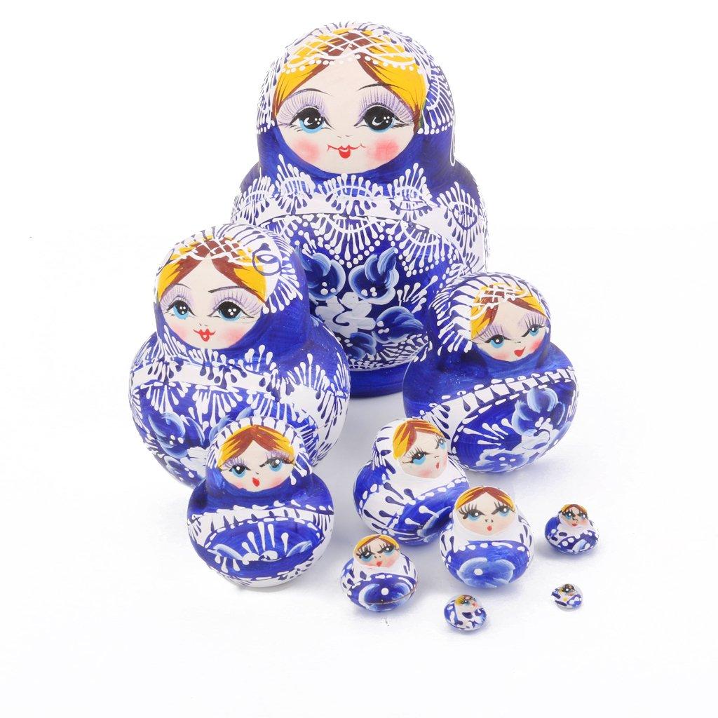 Baoblaze S/érie de 10 Bois Babushka Poup/ée Russe Nidification Peint /À La Main F/ée Fleur Bleue Cadeau Festival No/ël