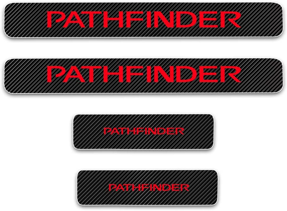 for Nissan Pathfinder Door Sill Protector Reflective 4D Carbon Fiber Sticker Door Entry Guard Door Sill Scuff Plate Stickers Auto Accessories 4Pcs Red