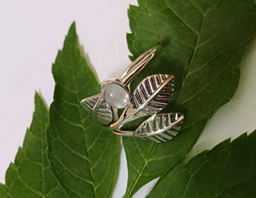Moonstone ring,leaf designer ring,rainbow moonstone,Green Amethyst Ring,925 sterling silver Birthday Present,Promise Ring for Girl friend
