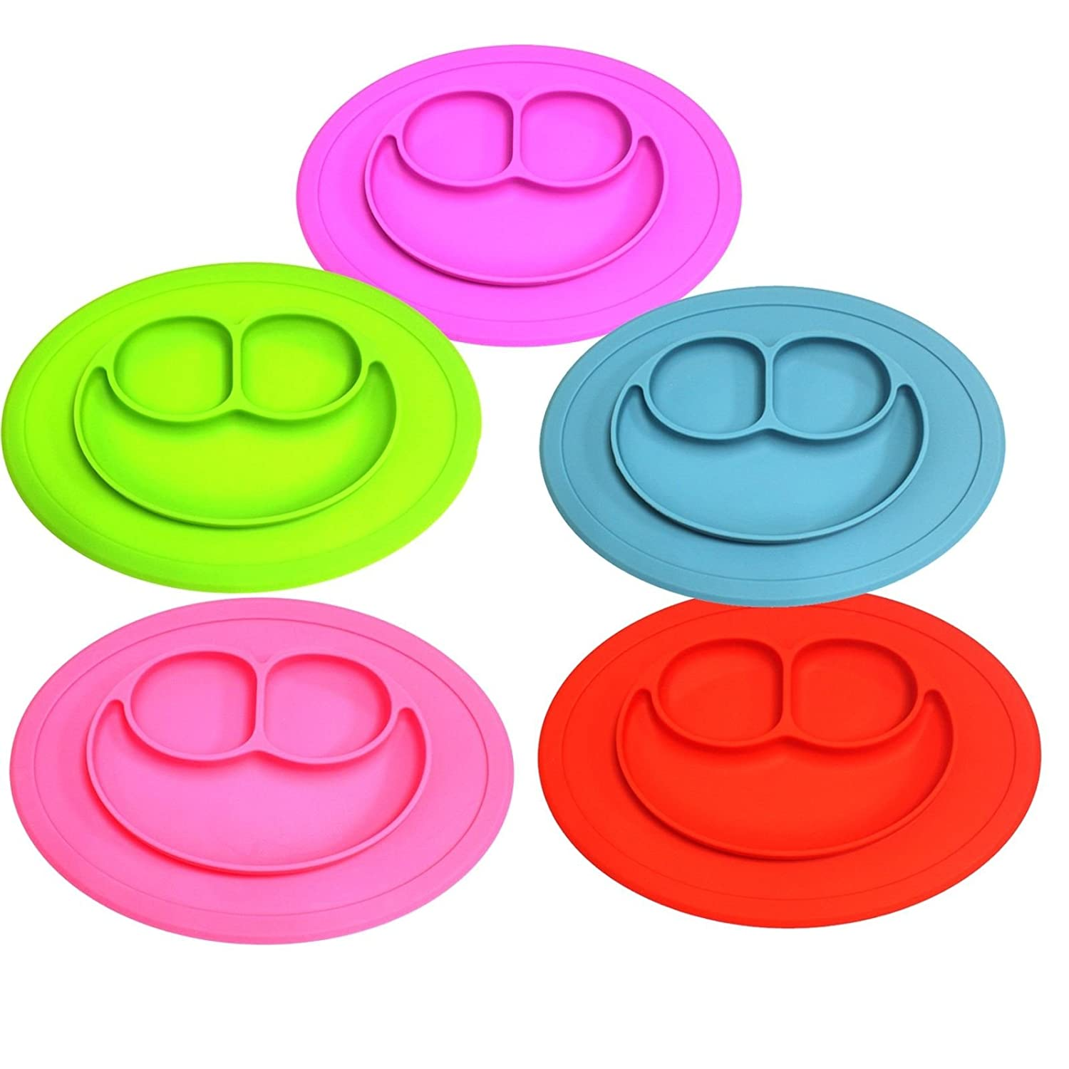 Portable Baby Plate for Toddlers and Kids Qshare Toddler Plate BPA-Free FDA Approved Strong Suction Plates for Toddlers Dishwasher and Microwave Safe Silicone Placemat 22 * 20 * 2.5cm