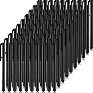 100 Pieces Slim Stylus Pens Set for Touch Screens, High Precision Capacitive Stylus Compatible with iPad iPhone Tablets Samsung Galaxy All Universal Touch Screen Devices (Black)