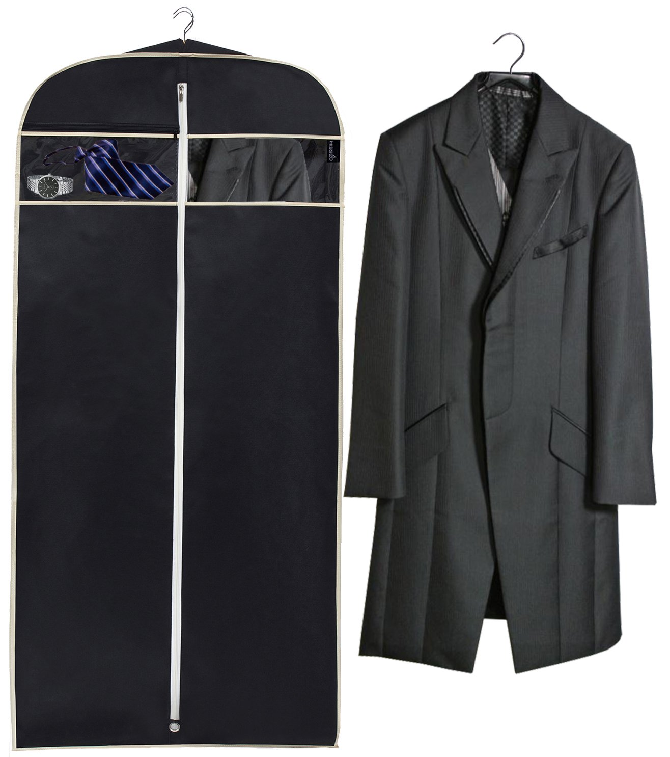 MISSLO 43'' Gusseted Travel Garment Bag with Accessories Zipper Pocket Breathable Suit Garment Cover for Shirts Dresses Coats, Black by MISSLO (Image #4)