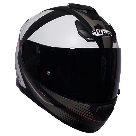 Amazon.es: Nitro N3100 Rival - Casco integral para motocicleta, color blanco, negro, arma y visera opaca