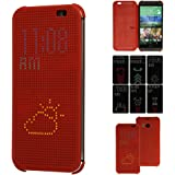 TECHGEAR® HTC One M8 DOT MATRIX VIEW Flip Case Cover With Auto Sleep Wake Function (RED)