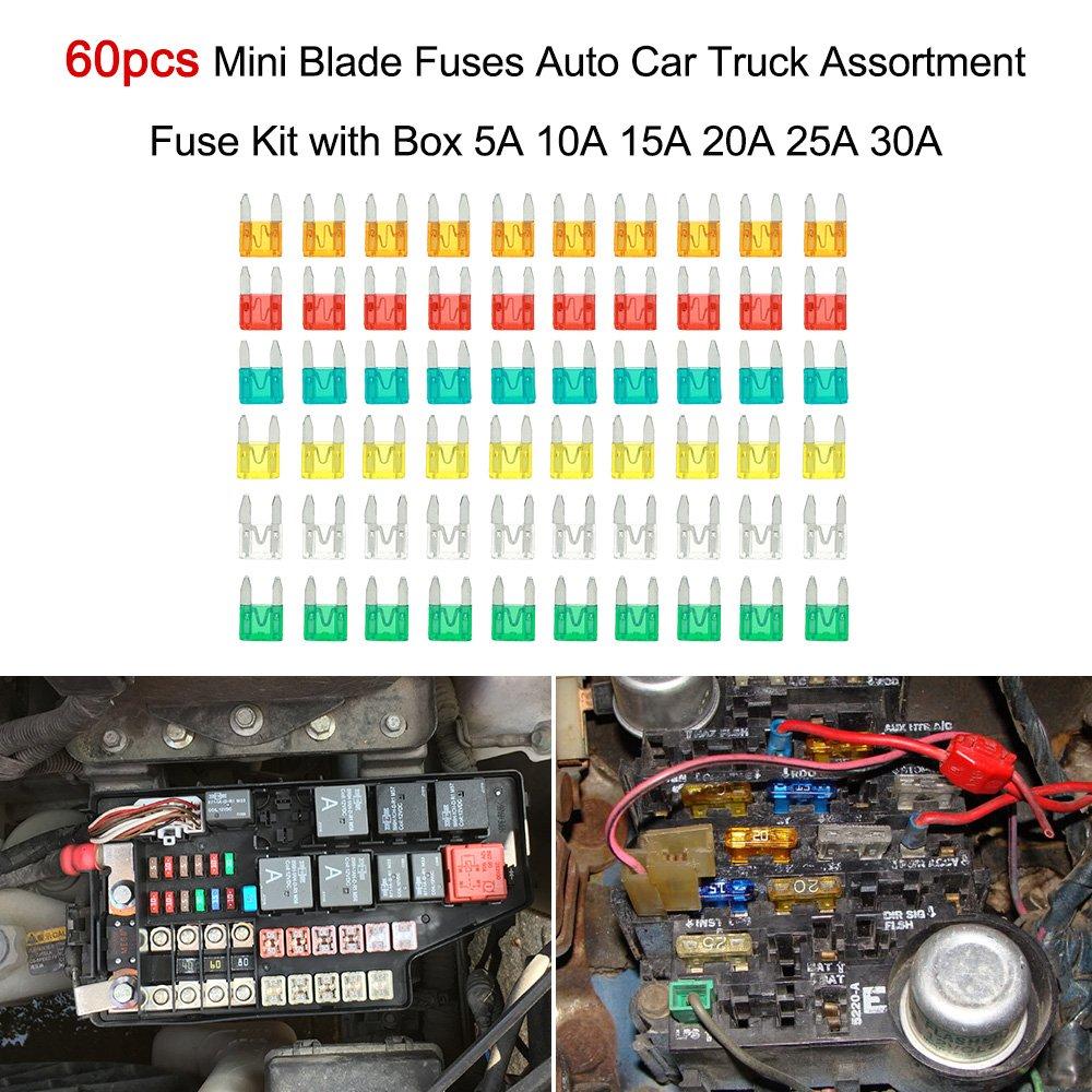 Walmeck Mini Flachsicherungen 60 St/ücke Auto LKW Sicherungen Set Sicherungssatz mit Box 5A 10A 15A 20A 25A 30A
