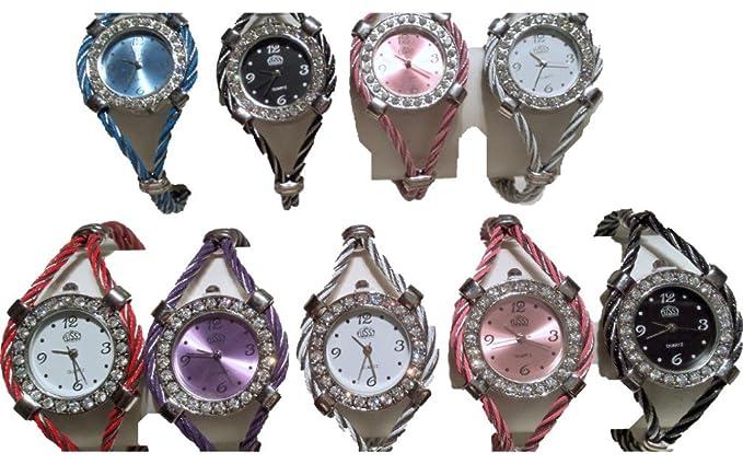 18 Cable de alambre color mezclado Diamante Relojes Nueva venta al por mayor - Lot P: Amazon.es: Relojes