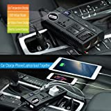 Car Power Inverter Car Outlet Adapter DC 12V 24V to AC 110V 220V Car Charger Adapter with Dual Cigarette Lighter Display Screen 4 USB Ports for Phones Laptops Kindle
