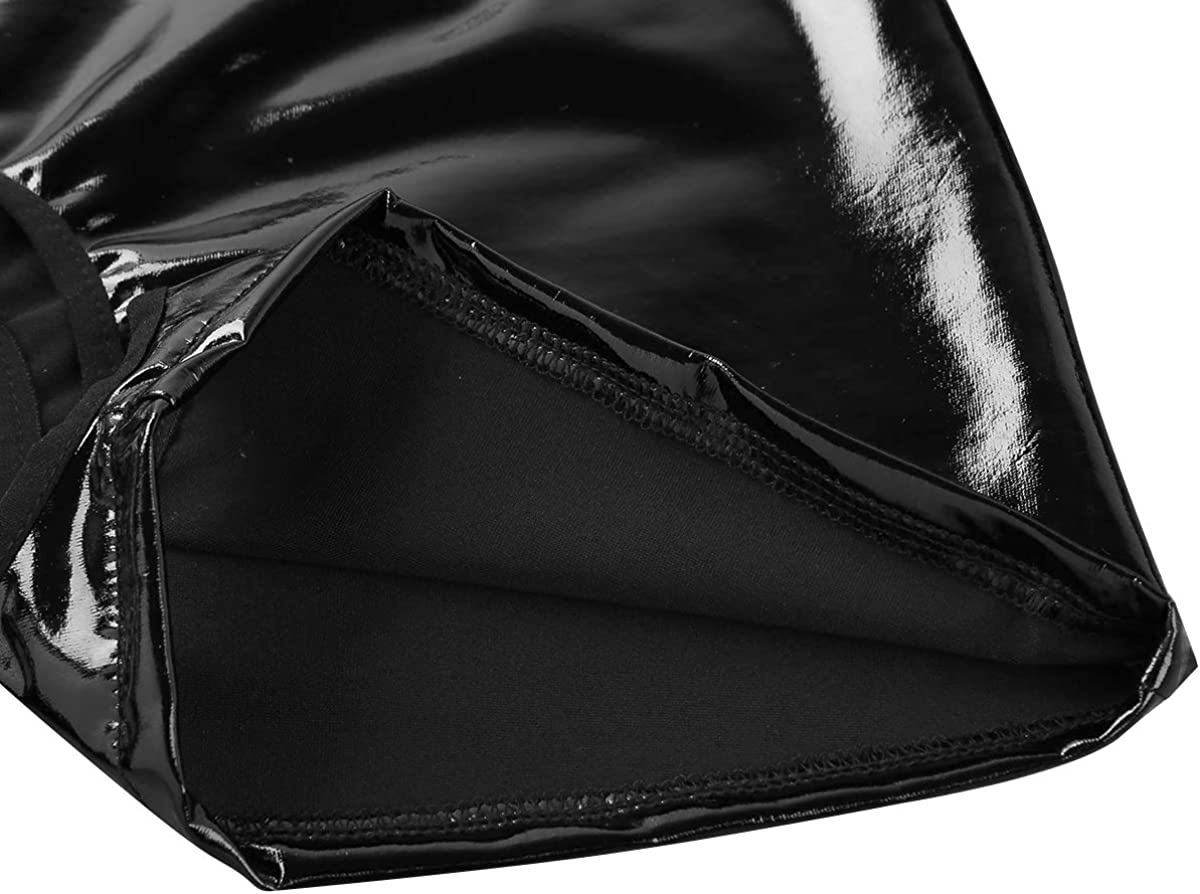 ranrann Womens Lingerie Faux Leather Wet Look Open Crotch Booty Shorts Boxer Briefs