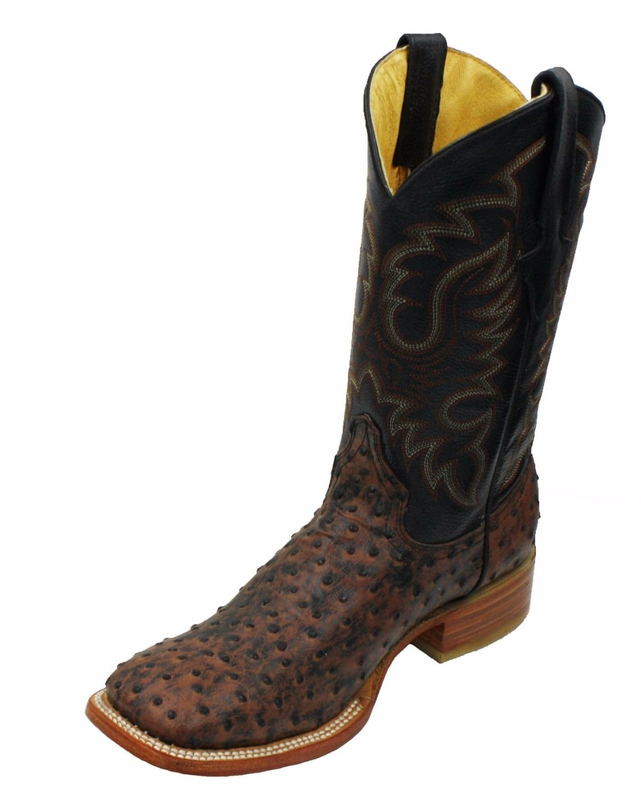 Men genuine cowhide leather ostrich print square toe western boots_Brown_12