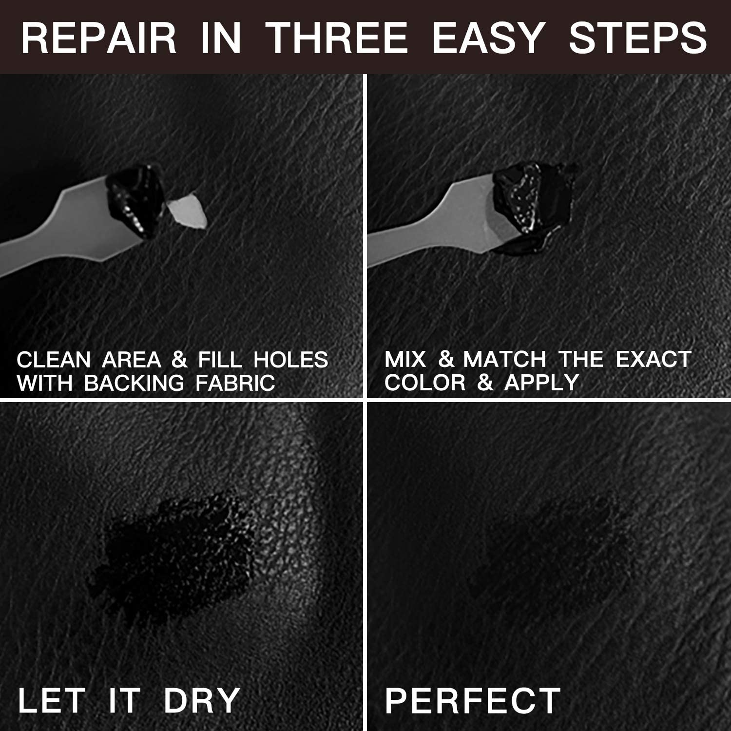 Repair /& Resto Italian Sofa Jacket Genuine Belt Bycast Car Seats Purse Restorer of Your Furniture Vinyl and Leather Repair Kit PU Pleather |No Heat Required Bonded Shoes
