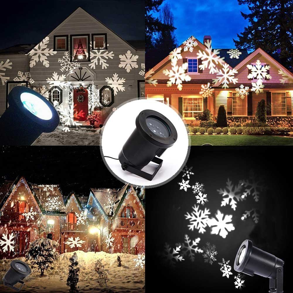 Podofo Waterproof Snowflakes Lamp Light Sparkling Landscape LED Projector for Indoor Outdoor Christmas Holiday Home Decoration (White)