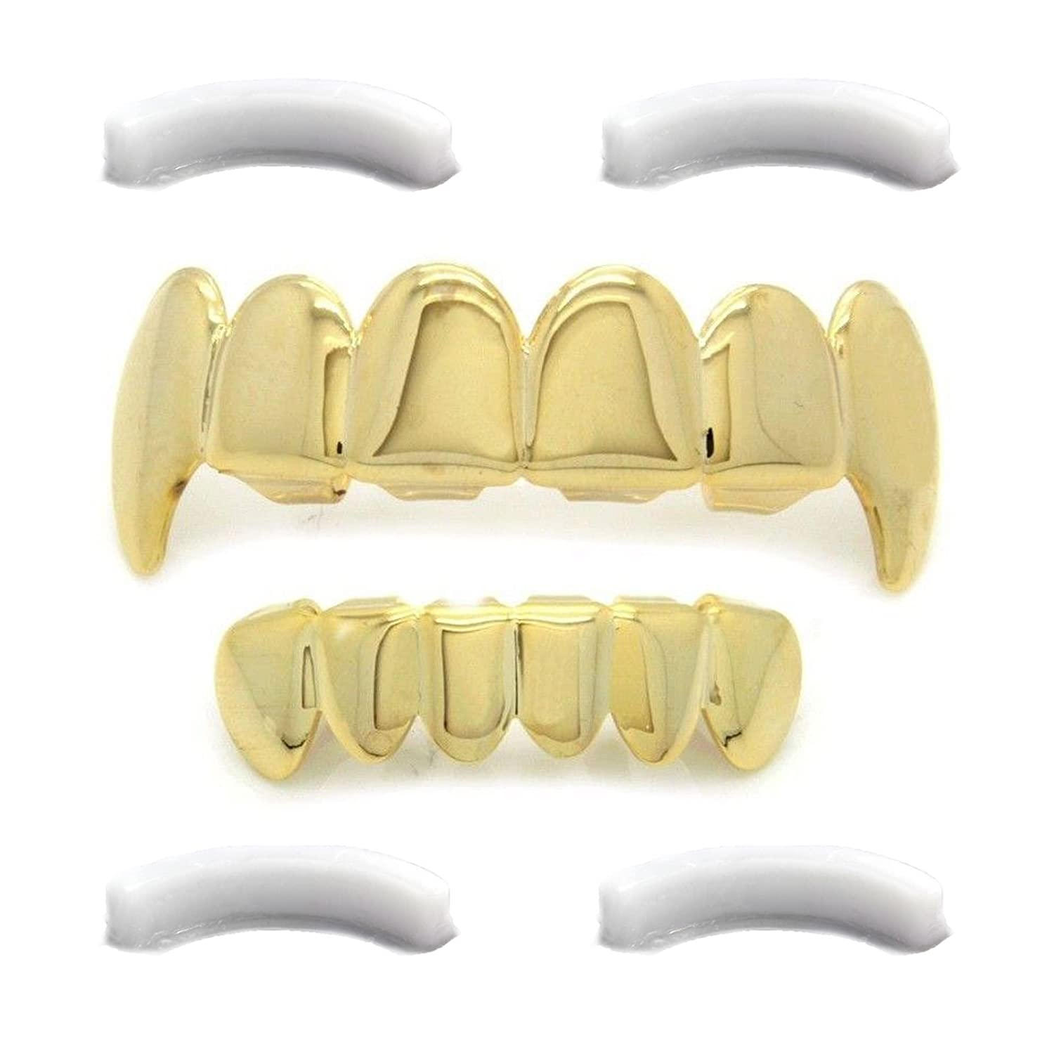 Gold Tone Hip Hop Teeth Top Fangs & Bottom Grillz Set with 2 Xtra Silicones