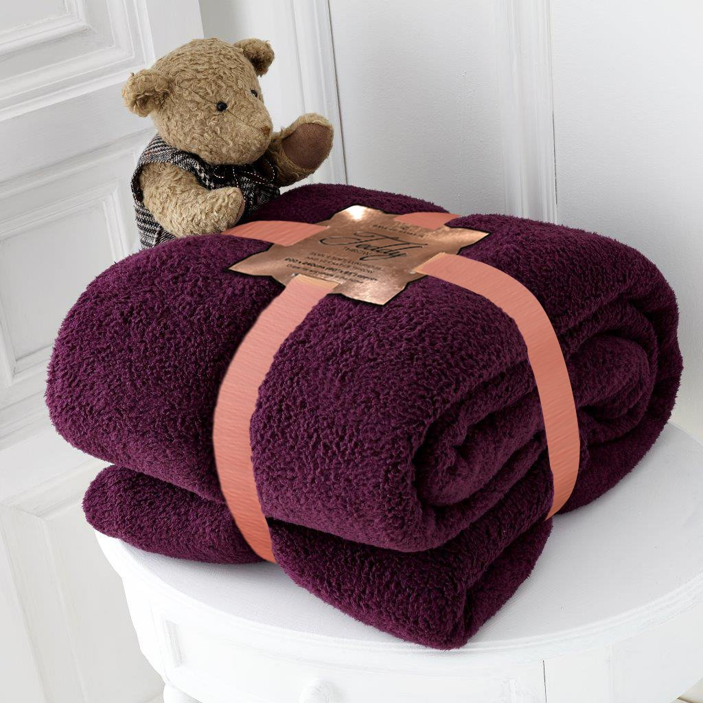 Luxury TEDDY BEAR DESIGN FLEECE BLANKET Super Soft & Warm Ideal As Sofa Bed Throw Blanket Bedspread Runner or Settee Cover For Every Part Of Your Home (Medium, Black) Artistic Fashionista