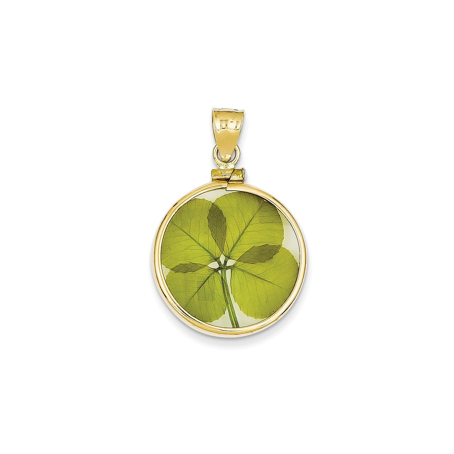 Roy Rose Jewelry 14K Yellow Gold Genuine 4-Leaf Clover in Screw-Top Bezel Pendant