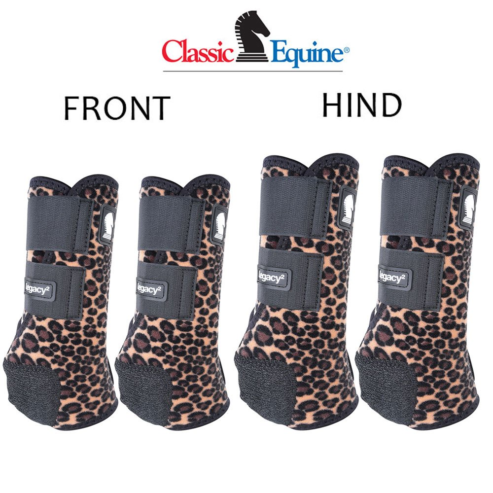 MEDIUM CLASSIC EQUINE LEGACY2 HORSE FRONT HIND SPORTS BOOTS 4 PACK CHEETAH PRINT by Classic Equine
