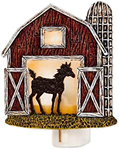 Bits and Pieces - Barn Nightlight - Rustic Wall Plug in Night Light - Home Lighting and Décor