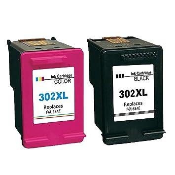 Ksera Remanufacturado HP 302 XL HP 302 Cartucho de Tinta, Alto Rendimiento Paquete de 2 (1 Negro, 1 Tricolor) F6U68AE/ F6U67AE Compatible con HP Envy ...