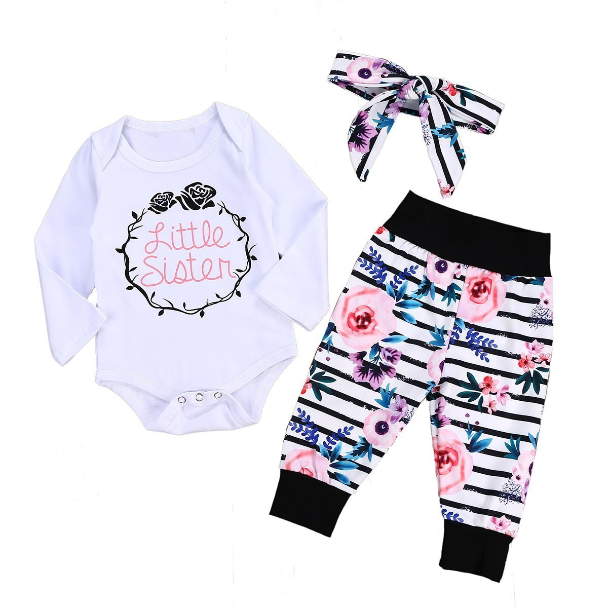 Toddler Baby Girl Summer Clothes Little Sister Newborn Outfit Bodysuit Tops + Floral Pants with Headband Infant Pant Sets (0-3 Months, Thinks Giving)