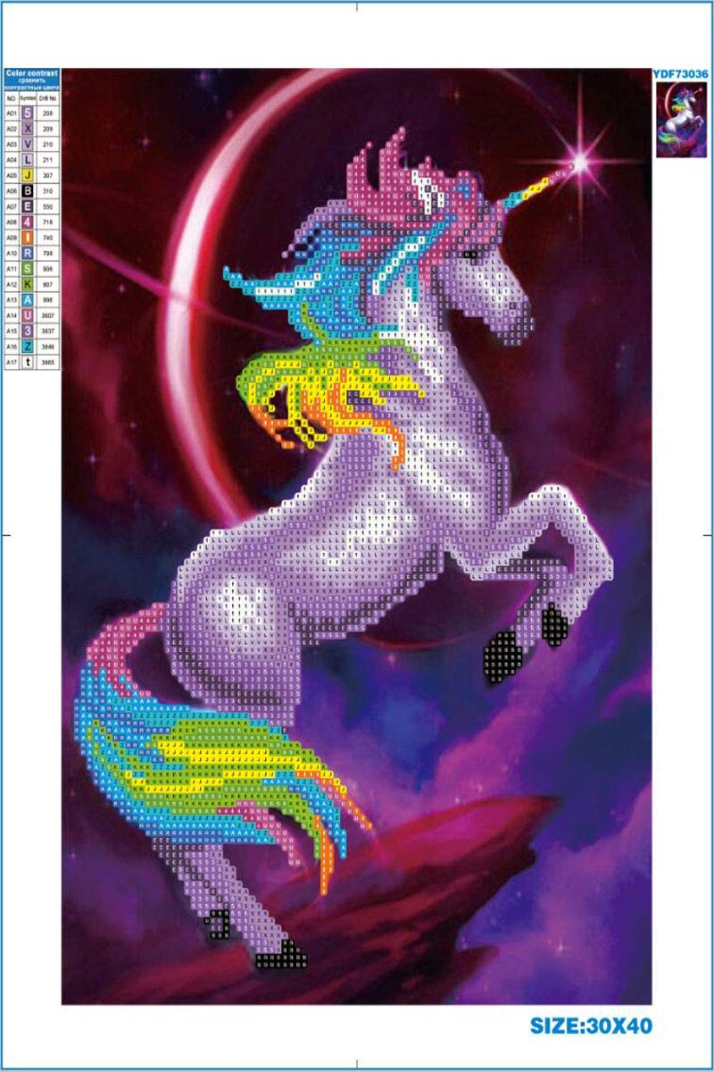 Unicorn Diamond Painting for Kids Decor for Wall Art Mosaic Home Decoration Mosaic Painting for Beginners (12 X 16 inch) Hi Stone