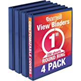 Samsill Economy 3 Ring Binder Organizer, 1 Inch Round Ring Binder, Customizable Clear View Cover, Bulk Binder 4 Pack, Dark Bl