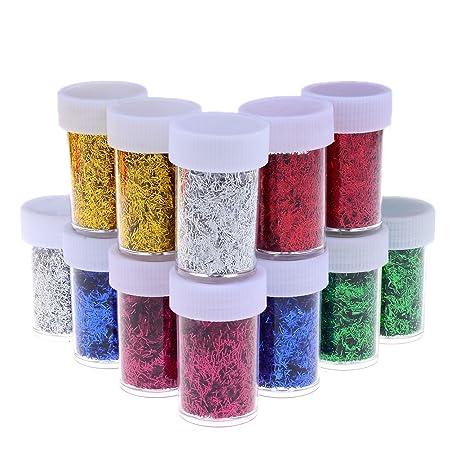 Lukupone 12 Piezas Colorido Purpurina Shaker Jars Diy