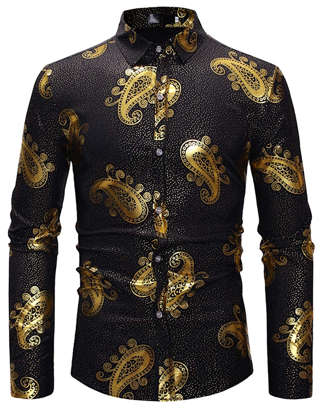 ebf28791f452 HOP Fashion Men s Luxury Gold Paisley Shirts Long Sleeve Slim Fit Button  Down Dress Shirts for Wedding Party Night Club at Amazon Men s Clothing  store