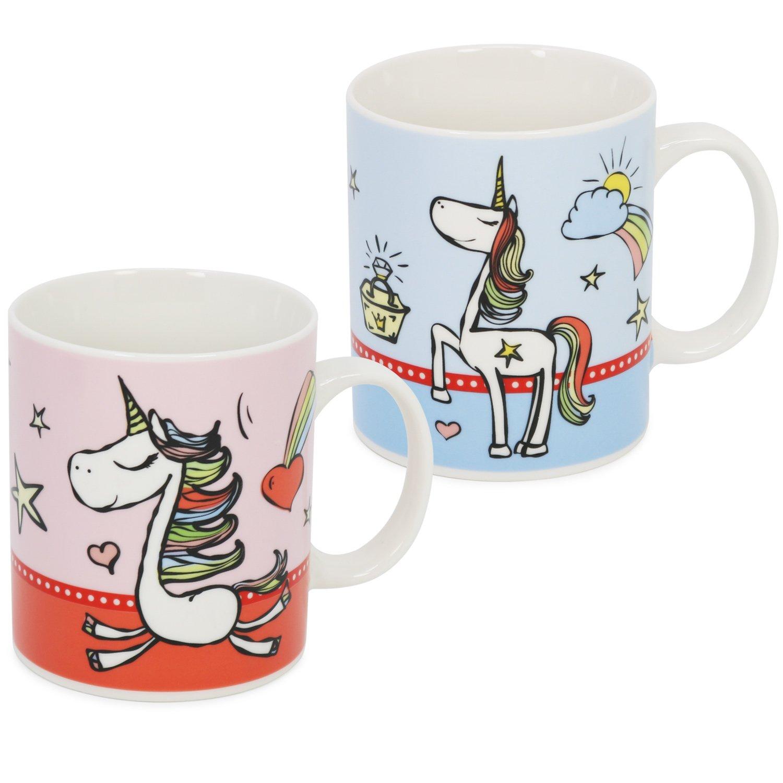 COM-FOUR® 2x Einhorn Kaffeebecher in verschiedenen Farben, Zauberhafte Kakaotasse mit magischen Einhorn-Motiven, 330 ml (02 Stück - Tasse Mix1)